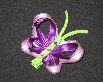 "NEW ""PURPLE BUTTERFLY"" Girls Ribbon Hairbow Clip Bow Boutique Summer Sculpture"