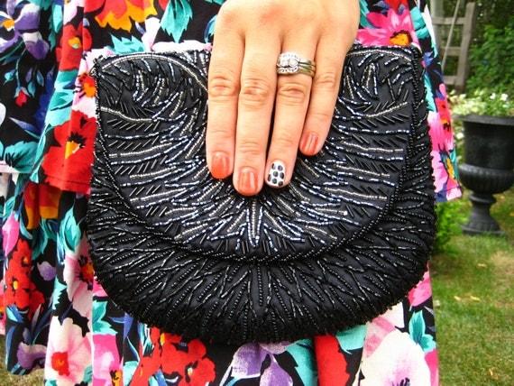 RESERVED-Vintage Black Beaded Clutch