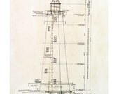 "Architectural Lighthouse print, measuring 8.5"" x 11"""