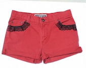 Levi's Red Denim High Waisted Shorts
