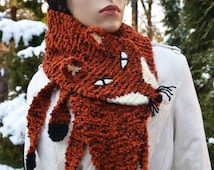 Hand Knit Fox Scarf  in Red Orange , renard echarpe