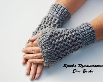 Grey Fingerless Mittens , fingerless gloves in handmade-warmers