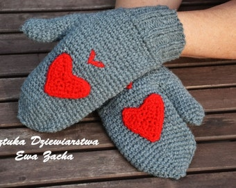 Sweetheart ,Grey  mittens with a heart , Crochet  Mittens , gloves in handmade-warmers