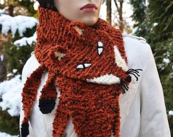 Hand Knit Fox Scarf  in Red Orange , renard echarpe