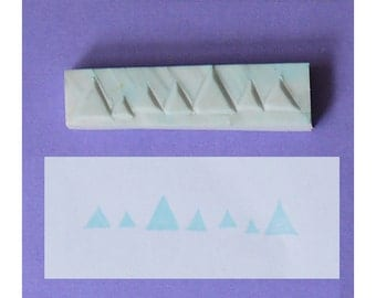 Geometric Handcarved Rubber Stamp - triangle hand carved stamp, line handmade rubber stamp, border handmade stamp
