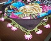 Pink  ,Gorgeous Turkish Traditional Yemeni-Oya,Floral Cotton Scarf Shawl Crochet
