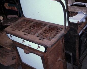 ANTIQUE Sears GAS STOVE: Intact, Full Service 3-Burners/Oven, Unusual, Petite, White Black Enamel