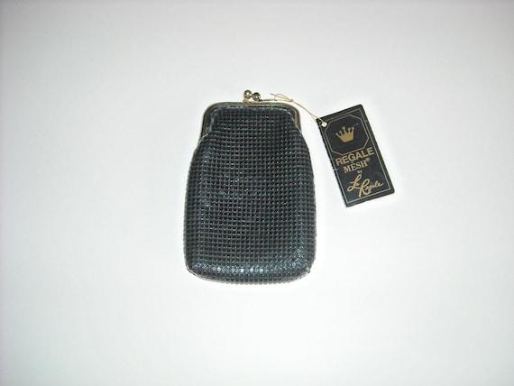 vintage black regale mesh change purse