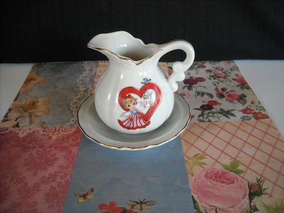 vintage lefton valentines pitcher and saucer