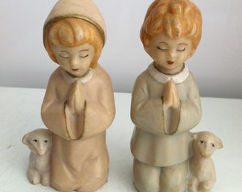 Vintage decorative religious Portugueses figures decorative pair of boy and girl sheperds praying  with their sheeps