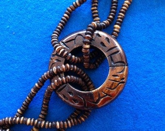 African Ethnic Tribal Brown and Wood Pendant Necklace Handmade