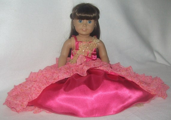 Hot Pink & Gold Ruffled Ball Gown for American Girl Doll