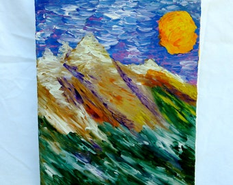 "An original finger painting, ""Escape to the Mountains"""