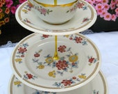 3 tired cake stand  Tea Party Plate, Cupcake Plate, tid bit plate  in Floral Prints