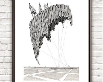 Soajo, Surrealism, architectural Drawing, Architecture sketch
