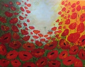 "ORIGINAL LARGE   PALETTE Knife Textured 30""  Red Poppies Abstract Painting Contemporary Art  Flowers  Floral Modern by Tanja Bell"