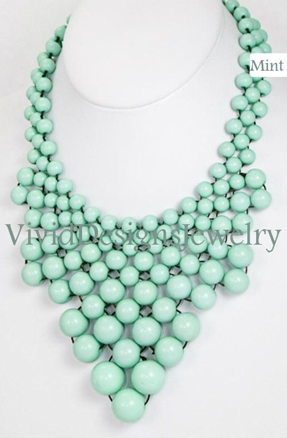 Seafoam Mint J Crew Bubble Necklace Bib Statement Necklace -Anthropologie Necklace-Chunky Necklace-Huge- Large- Big- Peach Necklace- Jewelry