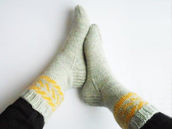 Hand knit wool socks in grey and yellow, woolen boot socks