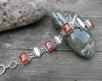 Vintage Carnelian & Mabe Pearl Sterling Bracelet