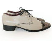 Women's Prada Oxfords - Creme leather W/ Alligator Toe, Hand-stitch details Size 7