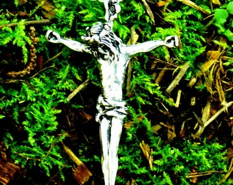 Special for Kelly Solid Back Passion Christ Cross Pendant Sterling Silver