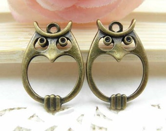 10pcs Cute  Antique Brass Owl Charms Pendants 16x22mm Owl Charms Connectors