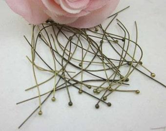 100pcs 40mm Solid Brass Ball Pins Heavy Strong Jewelry Handmade Ball Pin