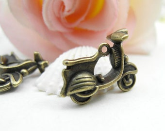 10pcs Motobike Charms,  Antique Brass 3D Motorbike Charms Pendants 17x22mm Motorcycle Charms
