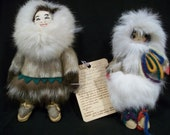 Vintage Inuit Native Doll Figures from Nome, Alaska with Original Tag