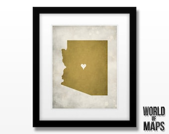 Arizona State Map Print - Home Town Love - Personalized Art Print