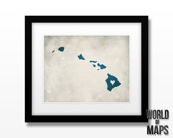 Hawaii Map Print - Home Town Love - Personalized Art Print