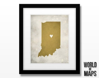 Indiana Map Print - Home Town Love - Personalized Art Print