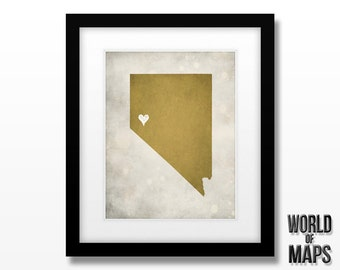 Nevada Map Print - Home Town Love - Personalized Art Print 11x14