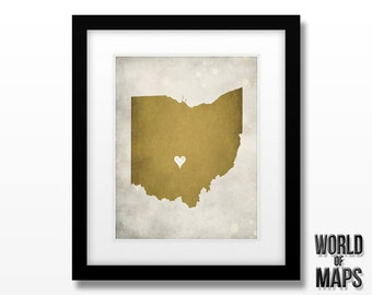 Ohio Map Print - Home Town Love - Personalized Art Print