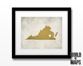 Virginia Map Print - Home Town Love - Personalized Art Print