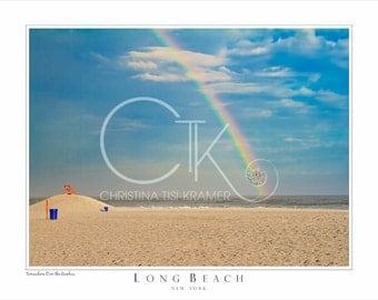 """Long Beach, NY Beach Landscape- """"Somewhere Over the Rainbow"""" 14x11"""