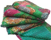 Green Kantha Quilt Cotton Reversible Bedspread Floral Handcrafted New Gudri India -NGQ21