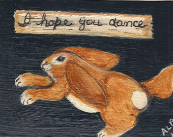 ACEO- Original Painting-Dancing Bunny- By the Artist