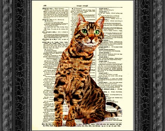Bengal Cat Art Print on an Upcycled 1897 Dictionary Page, Mixed Media Art Print Wall Decor