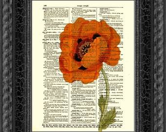 Red Poppy Dictionary Art Print, Poppy Art Print, Red Flower, Book Art, Dictionary Page, Mixed Media Wall Decor