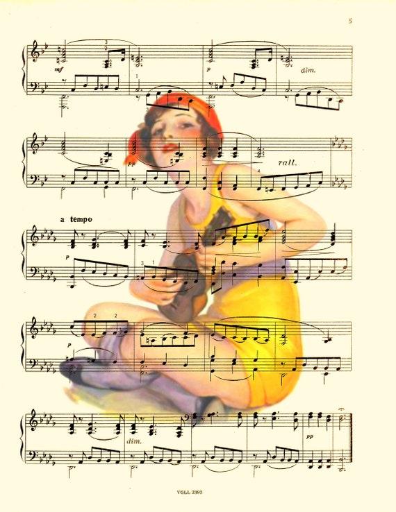 Flapper Playing Ukulele Sheet Music Art Print, Ukulele Art Print, Upcycled Sheet Music Art