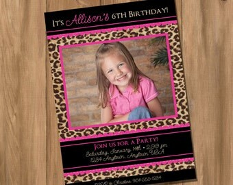 Pink Leopard / Cheetah Birthday Party Invitation with Photo (Digital - DIY)