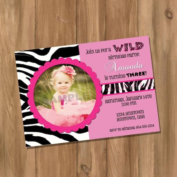 Pink Zebra Birthday Invitation With Photo Digital DIY