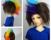 BJD Fur Doll Wig Brunette with Rainbow Faux Hawk