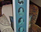 Large solid wood 8x30  blue matted baby boy nursery picture photo display frame white finish