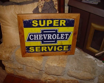 FREE SHIPPING Chevrolet custom framed solid cedar wood 15X18 man cave metal sign oak finish country rustic wall hanging display