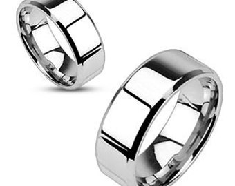 Personalized Stainless Steel Flat Band Ring - Free Engraving