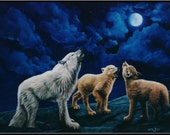 "Wolf Howl 8"" x 5"" Wolves Howling at the Moon Print"