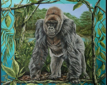 "Silverback Mountain Gorilla Stepping Out of Canvas 12"" x 12""  Sliverback gorilla print"
