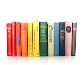 Rainbow Book Collection // Vintage Book Collection // Decorative Book Set // Colorful Old Books // Mid Century Mod // Home Decor